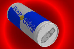 Energy drink. Can of energy drink on a red background Stock Images