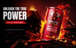 Free Energy Drink Ad Composition Stock Photos - 196379933