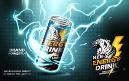 Energy drink ad. Energy drink contained in metal can with electricity current element, teal background 3d illustration Stock Image