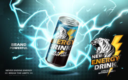 Energy drink ad. Energy drink contained in metal can with electricity ring element, teal background 3d illustration vector illustration