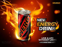 Energy drink ad. Energy drink contained in metal can with flame element, red background 3d illustration royalty free illustration