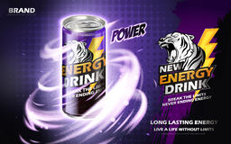 Energy drink ad. Energy drink contained in metal can with mysterious twister element, purple background 3d illustration Royalty Free Stock Image