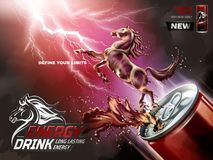 Energy drink ads. Liquid horse jumped up from can with splashing beverages in 3d illustration, lightning background Royalty Free Stock Image