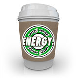 Energy Drink Coffee Caffeine Cup Beverage Power Strength. Energy word on coffee cup sleeve to illustrate a drink or beverage infused with caffeine, protein Royalty Free Stock Image