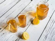 Kombucha fermenting tea with symbiotic culture