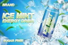 Energy drink label ads with ice cubes and mint leaves. Package design energy drink for poster or banner. Realistic stock illustration