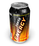 Energy drink in metal can Royalty Free Stock Photography