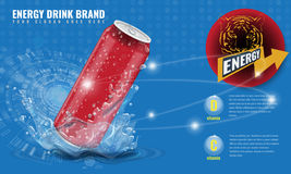 Energy drink metal can mockup with water splash and drops for advertisement layout 3d template for your design Royalty Free Stock Image
