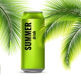 Energy drink in a tin can. Palm branches. Flight cooling drink. Vector 3d illustration Royalty Free Stock Image
