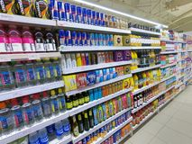 Energy Drinks Aisle in Supermarket, Grocery royalty free stock photo
