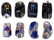 Energy drinks cans Stock Photos