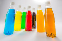 Energy drinks in colorful plastic bottles. Royalty Free Stock Photography