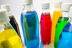 Energy drinks in colorful plastic bottles. Stock Image