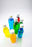 Energy drinks in colorful plastic bottles. Stock Photo