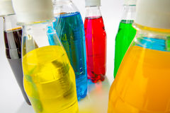 Energy drinks in colorful plastic bottles. Stock Photography