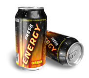 Energy drinks in metal cans Royalty Free Stock Images
