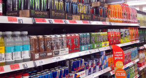 Energy drinks in a store. royalty free stock images