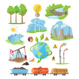 Energy Eco Resources. Vector Illustration Set Stock Photos
