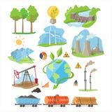 Energy Eco Resources. Vector Illustration Set Stock Photos