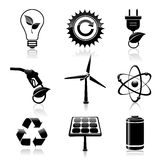 Energy and ecology black icons set. Black energy and ecology icons set with light bulb gas station and solar battery decorative elements vector illustration vector illustration
