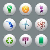 Energy and ecology buttons set Stock Images