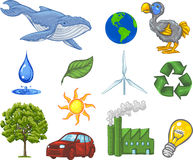 Energy And Ecology Icons. Vector, Clip Art illustration of ecology icons including earth, sun, wind, water, recycling symbol, tree, blue whale, dodo bird and stock illustration