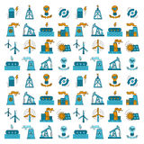 Energy Ecology and Pollution Vector set of icons Royalty Free Stock Photos