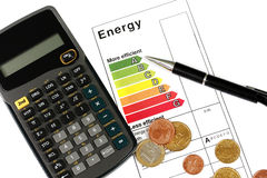 Energy efficiency. Eenergy efficiency concept with energy rating chart royalty free stock photo
