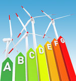 Energy Efficiency Bar Chart and Wind Turbine Stock Photography