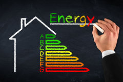 Energy efficiency. Chalkboard with hand and energy efficiency drawing royalty free stock photography