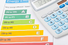 Energy efficiency chart and calculator over it - studio shot. Energy efficiency chart and calculator on it - close up studio shot stock image