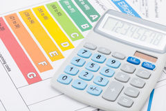 Energy efficiency chart and calculator Royalty Free Stock Image