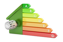 Energy efficiency chart with house and thermostat, 3D rendering Royalty Free Stock Image