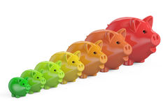 Energy efficiency chart from piggy banks, 3D rendering Stock Photo