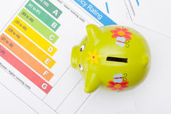 Energy efficiency chart and piggybank - close up studio shot from top. Energy efficiency chart and piggybank - studio shot from top royalty free stock images