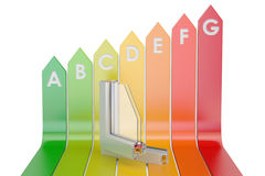 Energy efficiency chart with plastic windows profiles, 3D render. Ing on white background Stock Image