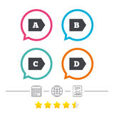Energy efficiency class icons. Stock Images