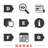 Energy efficiency class icons. Stock Photography