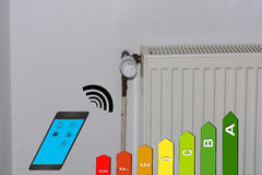 Energy efficiency class symbol, radiator and smartphone. Concept, temperature setting Heating via smartphone with Energy efficiency class Symbol. Smart Home royalty free stock photo
