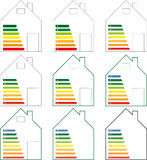 Energy Efficiency Classes. Symbolic representation of a building for energy efficiency classes Stock Photography