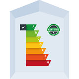 Energy Efficiency Classes Label. Simple infographic vector illustration of energy efficiency classification certificate class. Suitable for house, building, home Stock Image