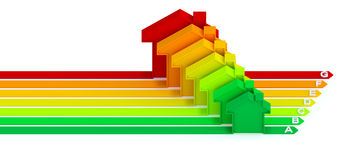 Energy efficiency concept. (3D illustration over white background Stock Images