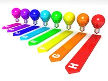 Energy efficiency concept. colorful light bulbs. Energy efficiency concept with colorful light bulbs 3d Royalty Free Stock Image