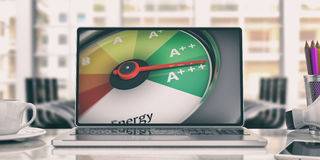 Energy efficiency concept. 3d illustration. Energy efficiency concept. Car speedometer on a laptop. 3d illustration Stock Photos
