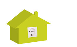 Energy efficiency concept. 3D illustration of house with power outlet as energy efficiency concept Stock Photography