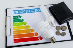 Energy efficiency concept with energy rating chart. And Energy savings lamp, wallet, coin Royalty Free Stock Image