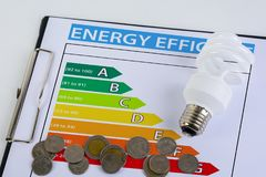 Energy efficiency concept with energy rating chart. And Energy savings lamp, coin stock image