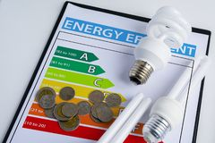 Energy efficiency concept with energy rating chart. And Energy savings lamp, coin Stock Photos