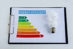Energy efficiency concept with energy rating chart. And Energy savings lamp Stock Photography