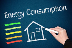 Energy efficiency concept. Hand of woman drawing energy consumption with house and rating chart on blackboard or chalkboard; efficiency concept royalty free stock images